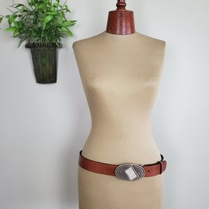 Chico's Brown Leather Large Buckle Rhinestone Belt